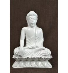 Statue Bouddha assis appel à la terre blanc déco artisan zen asiatique