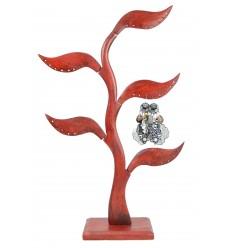 Arbre à bijoux 5 feuilles en bois massif teinte rouge