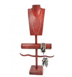 Présentoir à Bijoux multifonction en bois massif teinte rouge