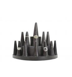 Porte-bagues /  Présentoir à bagues (13 cônes) en bois teinte noire
