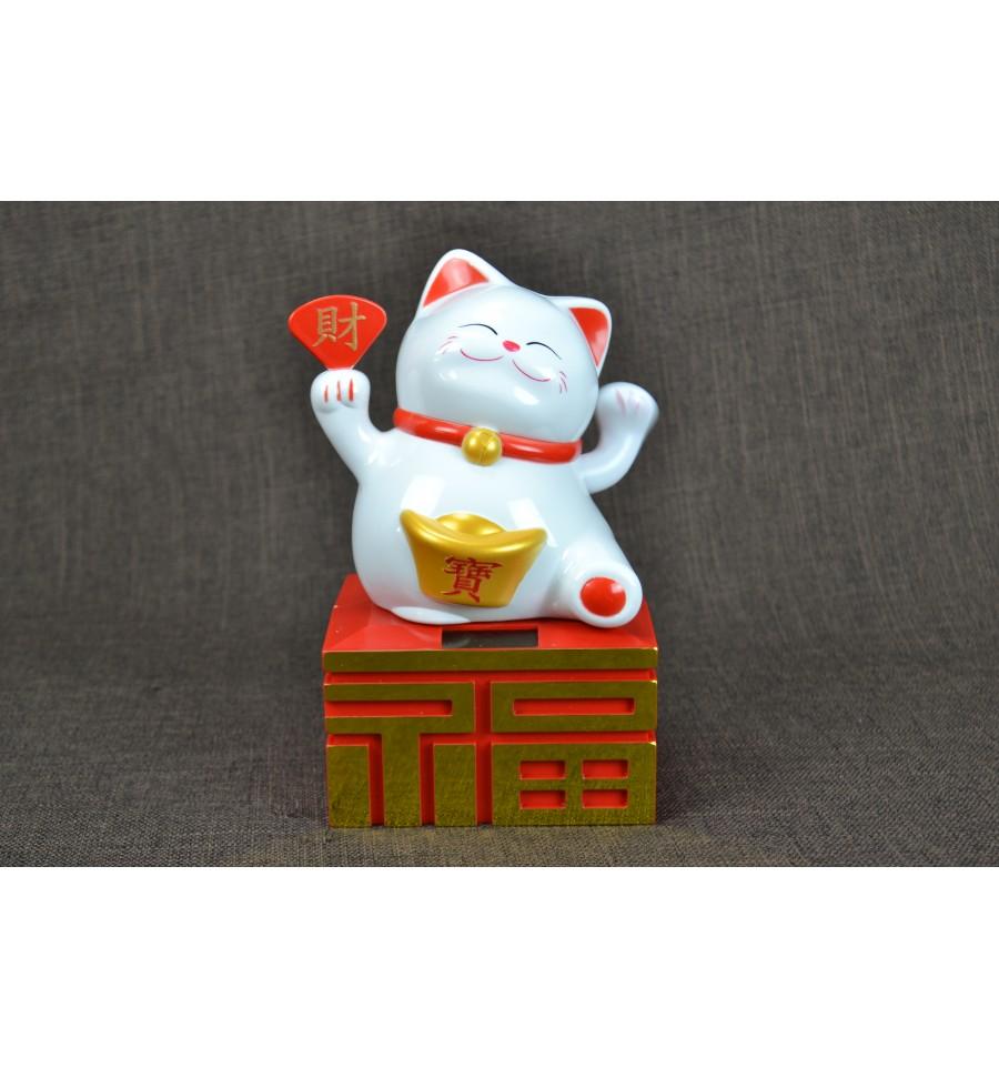Maneki neko solaire grand chat chinois blanc porte bonheur h20cm ebay - Porte bonheur chinois chat ...