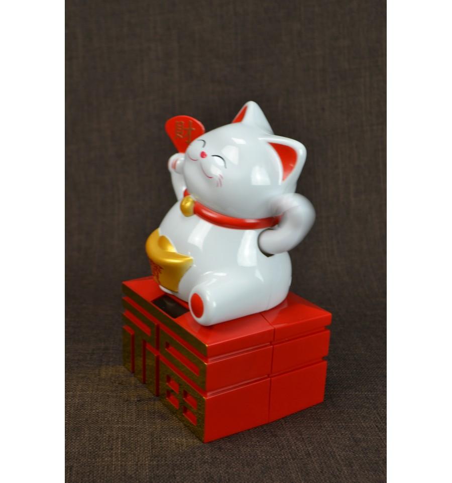 maneki neko solaire grand chat chinois blanc porte bonheur h20cm ebay