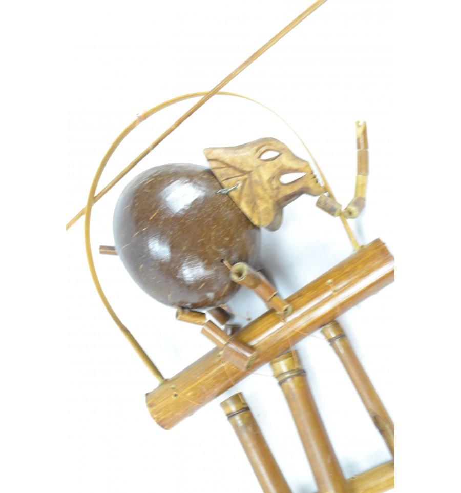 Carillon vent en bambou et noix de coco d cor l eac ebay for Carillon a vent exterieur
