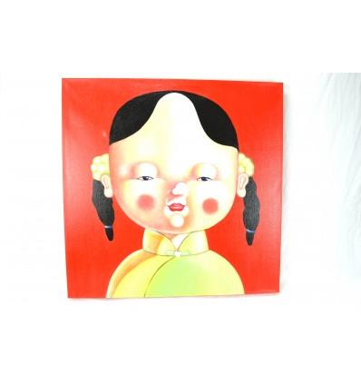 """Tableau """"petite fille de Chine"""" 60x60cm - oeuvre originale - déco asiatique"""