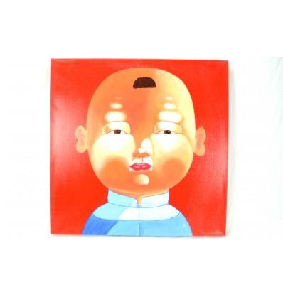 """Tableau """"petit garçon de Chine"""" 60x60cm - oeuvre originale - déco chinoise"""