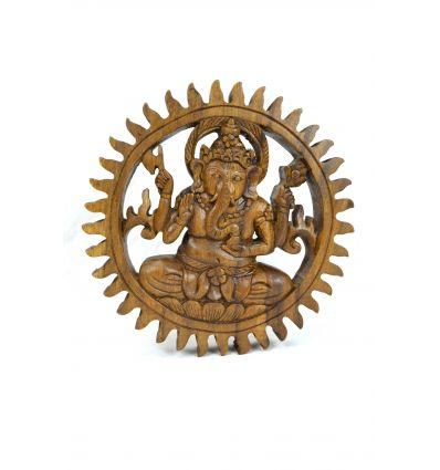 """Décor mural """"Temple de Ganesh"""" en bois massif sculpté main"""