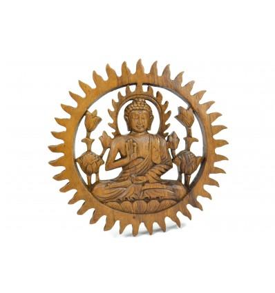 Décor mural Bouddha bois exotique diam. 20cm