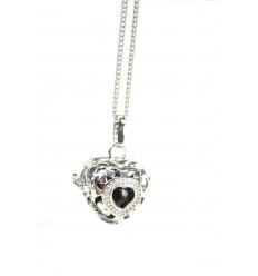 Collier fantaisie avec Bola de grossesse Coeur en métal argenté