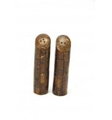 Salière et poivrière style exotique en marqueterie de bois de cocotier.