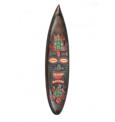 Décor mural masque Tiki et Tortue H100cm en bois, forme surf.