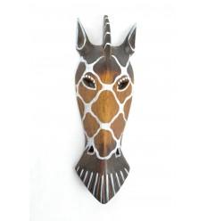 Masque Zèbre en bois 27cm décoration ethnique.