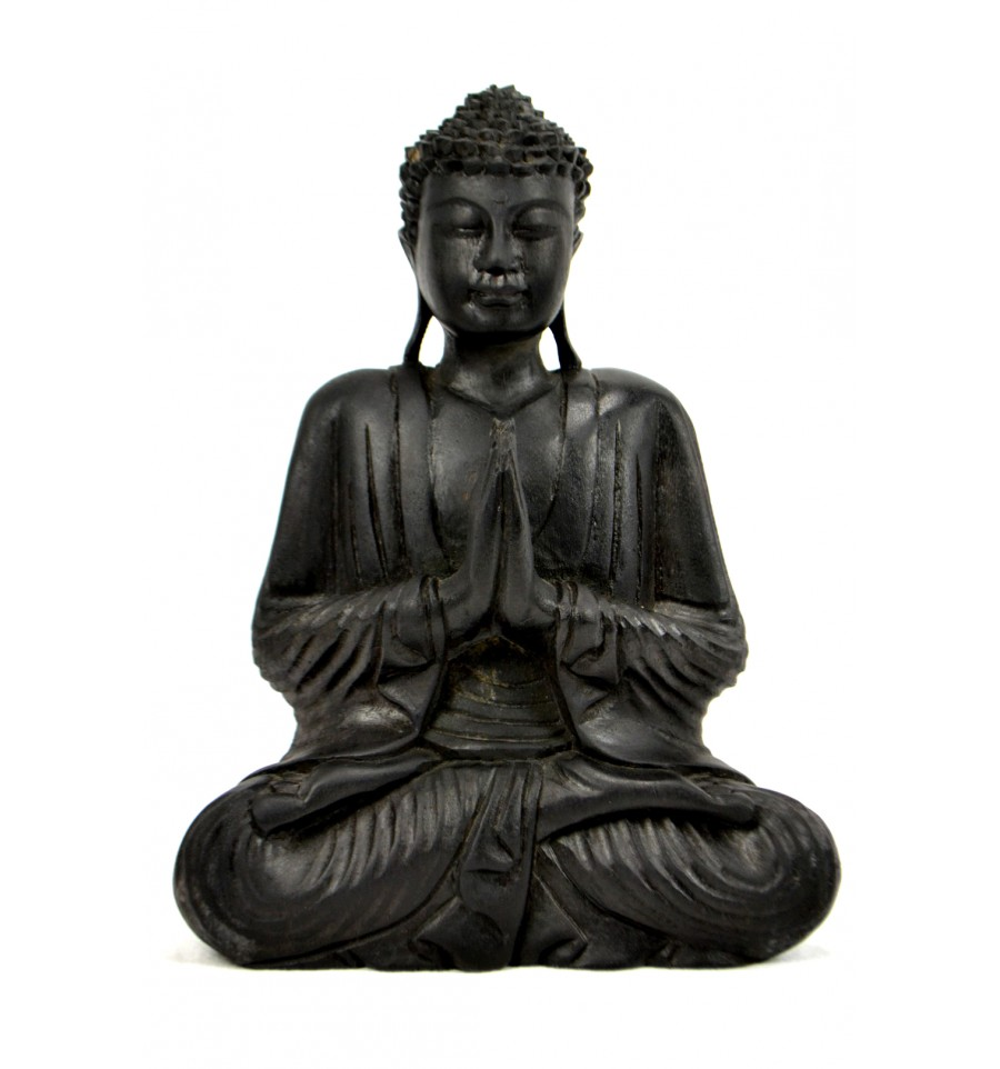 statue bouddha assis mains jointes anjali mudra en bois h30cm noir. Black Bedroom Furniture Sets. Home Design Ideas