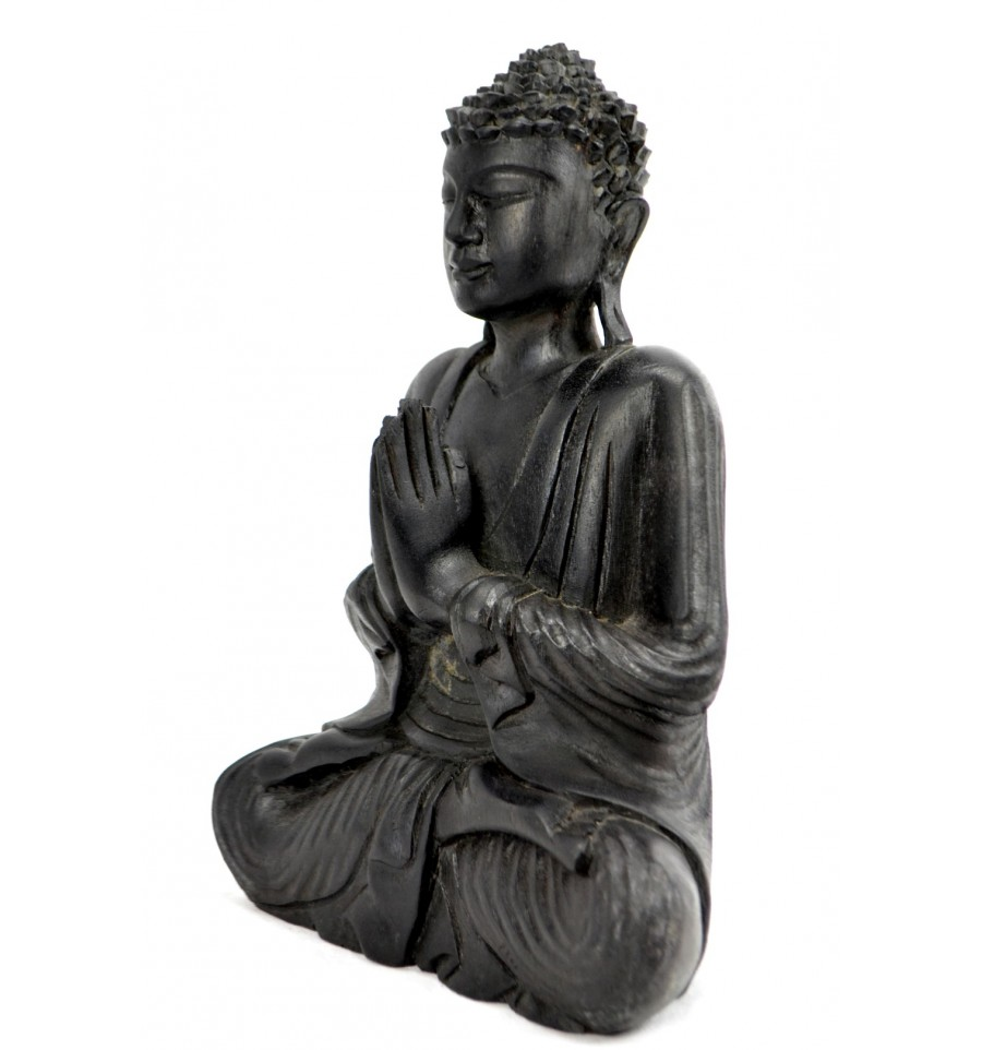 statue de bouddha assis anjali mudra en bois finition noir b egrave ebay. Black Bedroom Furniture Sets. Home Design Ideas