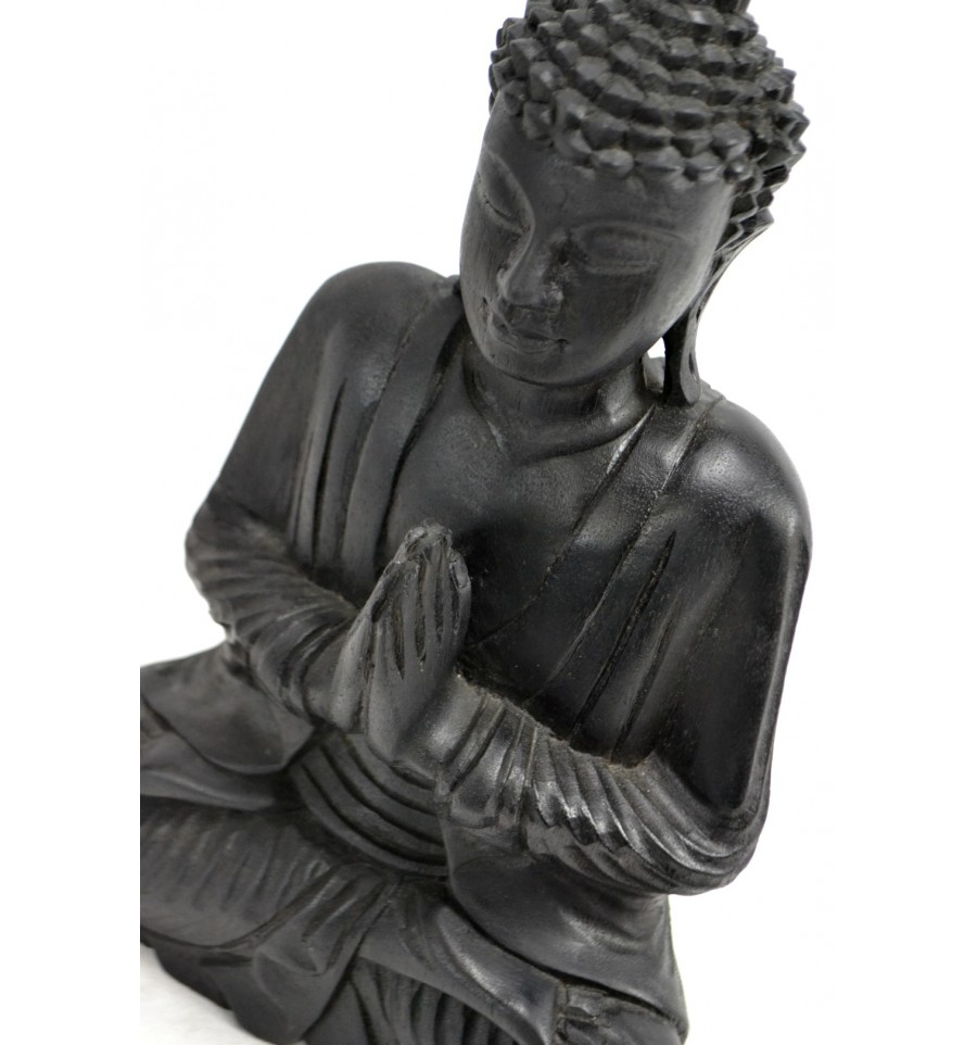 statue de bouddha assis anjali mudra en bois finition noir b egrave ebay. Black Bedroom Furniture Sets. Home Design Ideas