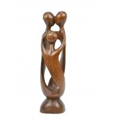 Statuette abstraite Famille h30cm en bois massif sculpté main