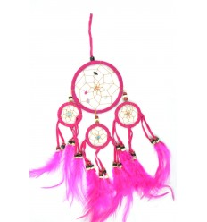Dreamcatcher / attrape rêves indien rose 35 x 15cm fait main
