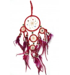 Dreamcatcher / attrape rêves indien rouge 35 x 15cm fait main