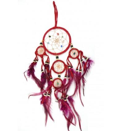 Dreamcatcher / attrape rêves indien rouge 35 x 15cm fait main