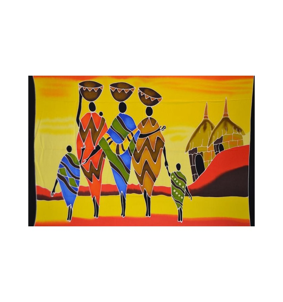 Tenture murale africaine multicolore motif tribu et village for Decoration murale africaine