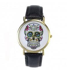 """Montre fantaisie """"Calavera"""" motif crâne coloré - bracelet similicuir noir."""