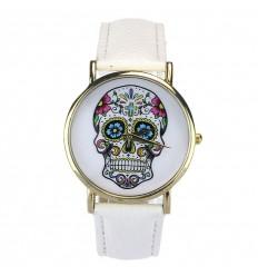 """Montre fantaisie """"Calavera"""" motif tête de mort mexicaine - bracelet similicuir blanc."""