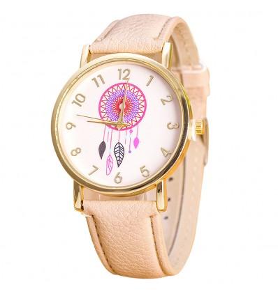 """Montre fantaisie femme """"Dreamcatcher"""" motif Attrape-Reve - bracelet beige"""