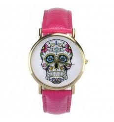 """Montre fantaisie """"Calavera"""" motif tête de mort multicolore - bracelet similicuir rose."""