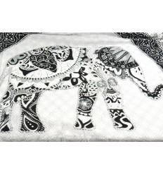 Sarong indonésien 170x115cm paréo de plage, foulard motif éléphant patchwork.