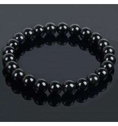 Bracelet Lithothérapie en Agate Noire naturelle - équilibre les énergies, protège la grossesse.