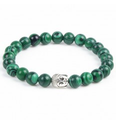 Bracelet en Malachite naturelle + perle Bouddha. Livraison gratuite.