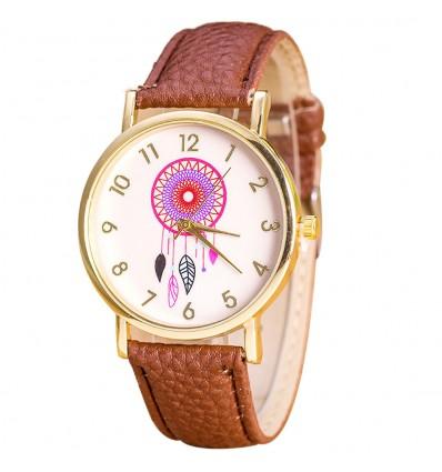 """Montre fantaisie femme """"Dreamcatcher"""" motif Attrape-Reve - bracelet marron"""