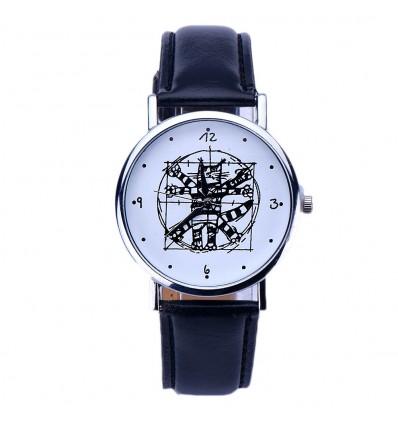 """Montre fantaisie """"Da Vinci Cat"""" - bracelet similicuir noir. Livraison gratuite !"""