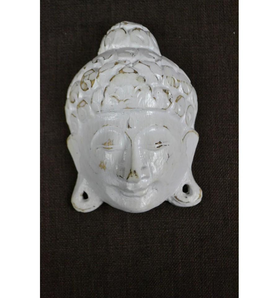 Petit masque t te de bouddha en bois style vintage d co for Tete de bouddha deco