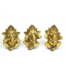"""3 statuettes Ganesh """"Secret du Bonheur"""" en bronze massif."""