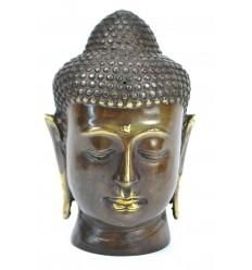 Tête de Bouddha. Fabrication artisanale en bronze h15cm. Décoration Zen.