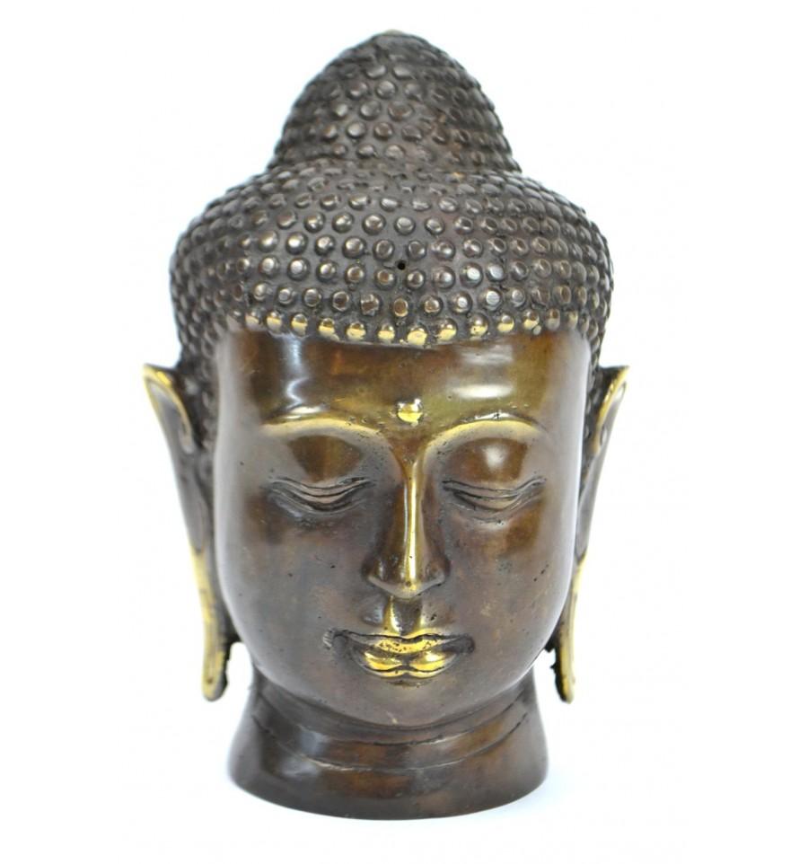 T te de bouddha en bronze d coration zen asiatique import for Tete de bouddha deco