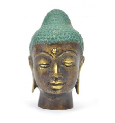 Petite tête de Bouddha en bronze h7cm. Artisanat asiatique.