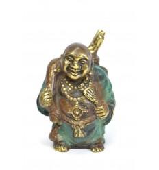 Statuette Bouddha rieur voyageur en bronze. Déco chinoise.