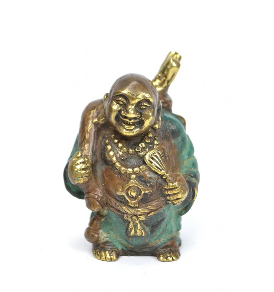 Statuette Bouddha Rieur Voyageur En Bronze Amulette Porte