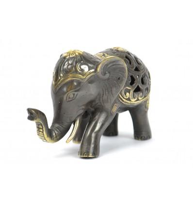 Statuette éléphant trompe en l'air. Véritable bronze d'Asie.