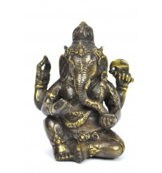 Statuette Ganesh en bronze H12cm. Artisanat asiatique.