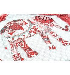 Sarong indonésien 170x115cm paréo de plage, foulard motif éléphant blanc et rouge.
