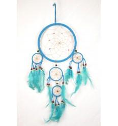 Grand attrape-rêves artisanal 50x25cm en velours turquoise