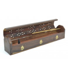 Porte-encens avec rangement / boîte en bois, motif Ganesh.