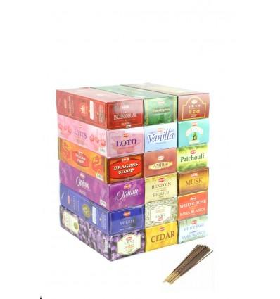 """Mégapack """"1 an d'Encens Top Qualité"""". Assortiment 18 parfums / 360 bâtons. Marque HEM."""