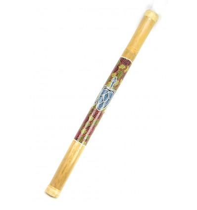 Grand bâton de Pluie en bambou, Rainstick 80cm décor peint à la main.