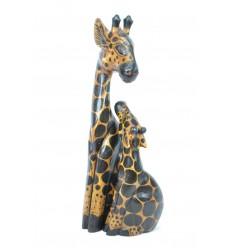 "Statues ""Girafe et son girafon"" en bois H50cm. Déco Safari Savane Afrique."