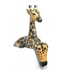 "Statue ""Girafe assise"" rebord étagère H30cm. Déco africaine Safari Savane."
