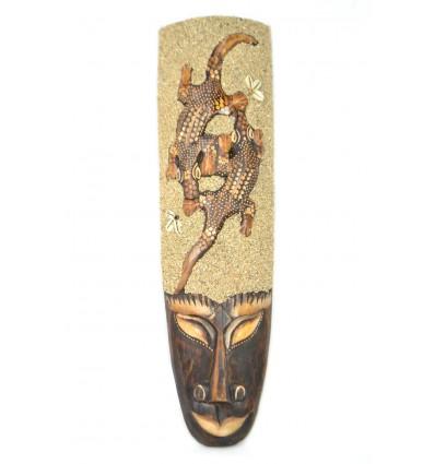 Masque Africain 50cm décor 2 Geckos, sable et coquillages Cauris