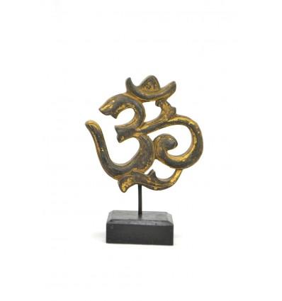 Statuette symbole Ôm (Aum) en bois sculpté. Décoration indienne.